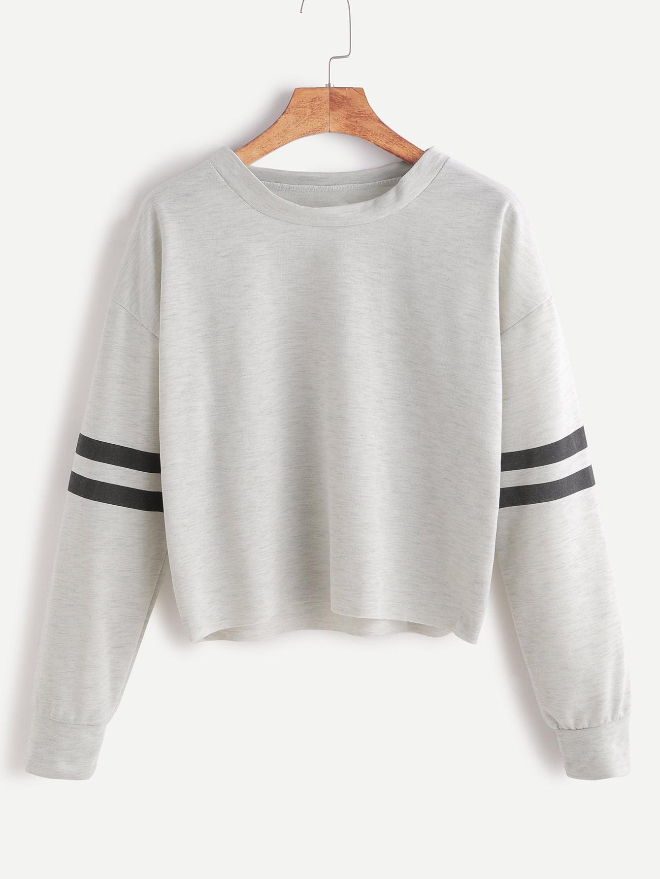 Heather Grey Drop Shoulder Varsity Striped Crop T-shirt drop shoulder water color crop sweatshirt