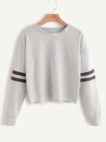 Heather Grey Drop Shoulder Varsity Striped Crop T-shirt