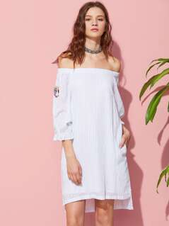 Butterfly Embroidered Fluted Sleeve Stepped Hem Bardot Dress