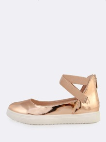 Elastic Strap Patent Shoes ROSE GOLD