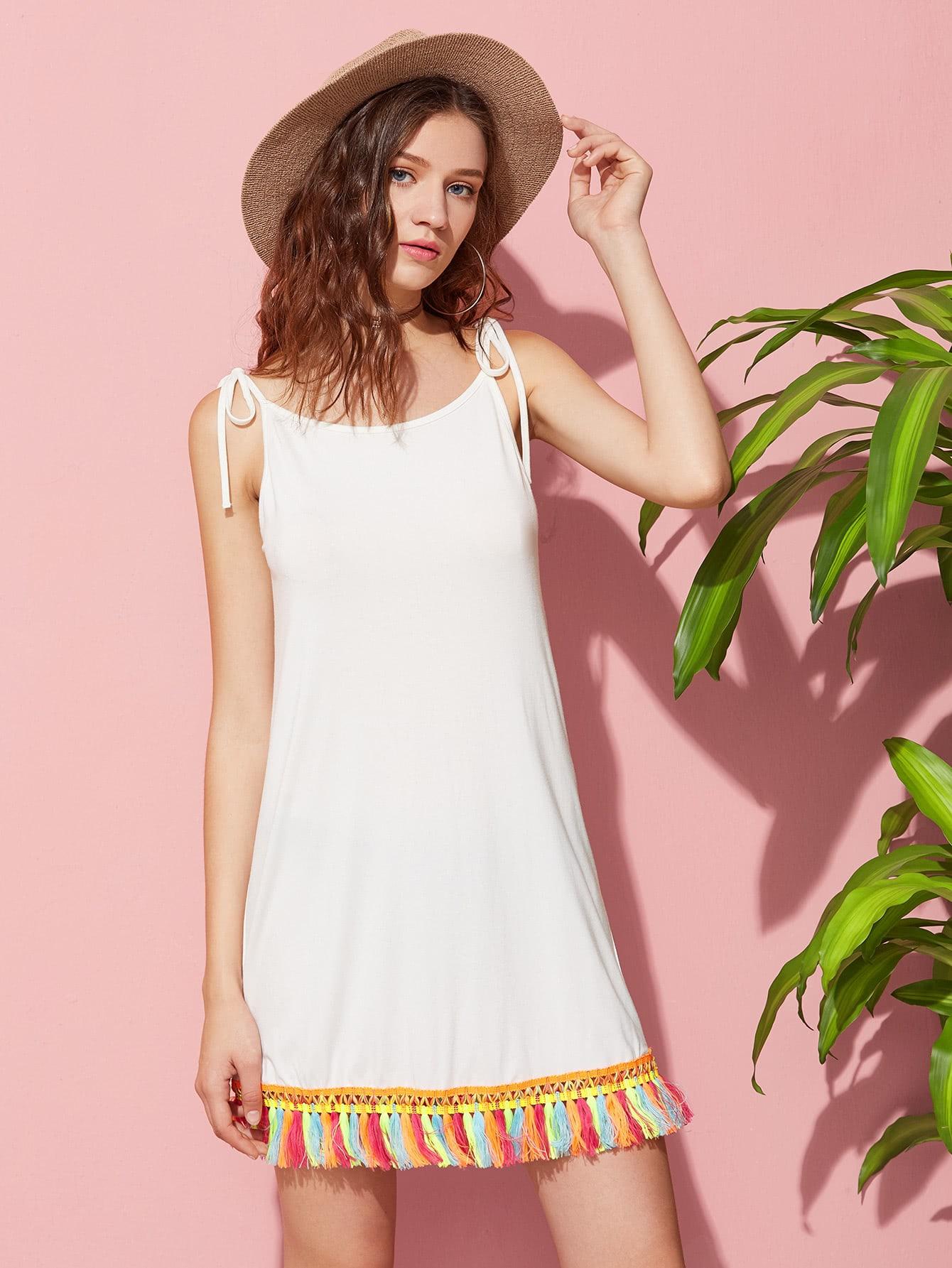 Фото Self Tie Shoulder Tassel Trim Cami Dress. Купить с доставкой