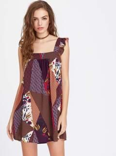 Patchwork Print Frill Strap Pinafore Dress