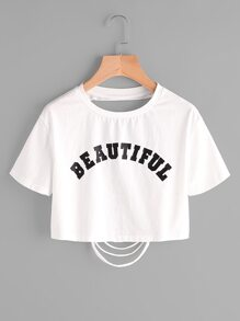 Letter Print Ripped Back Crop T-shirt