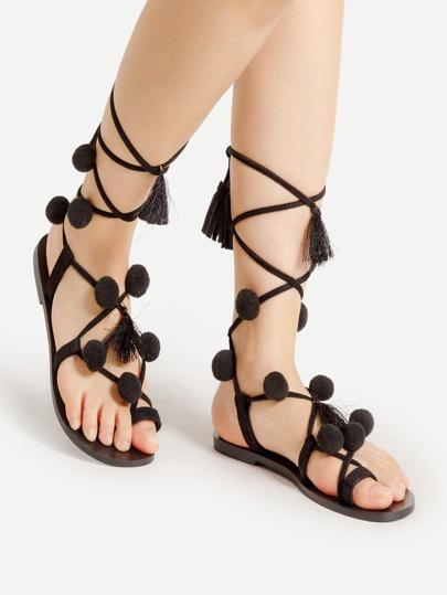 Pom Pom Embellished Lace Up Sandals