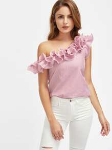 Lettuce Edge Frill Asymmetric Shoulder Striped Top