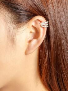 Geometric Rhinestone Embellished Ear Cuff 1pcs
