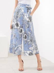 Pantalons rayure vertical avec jambe gros floral