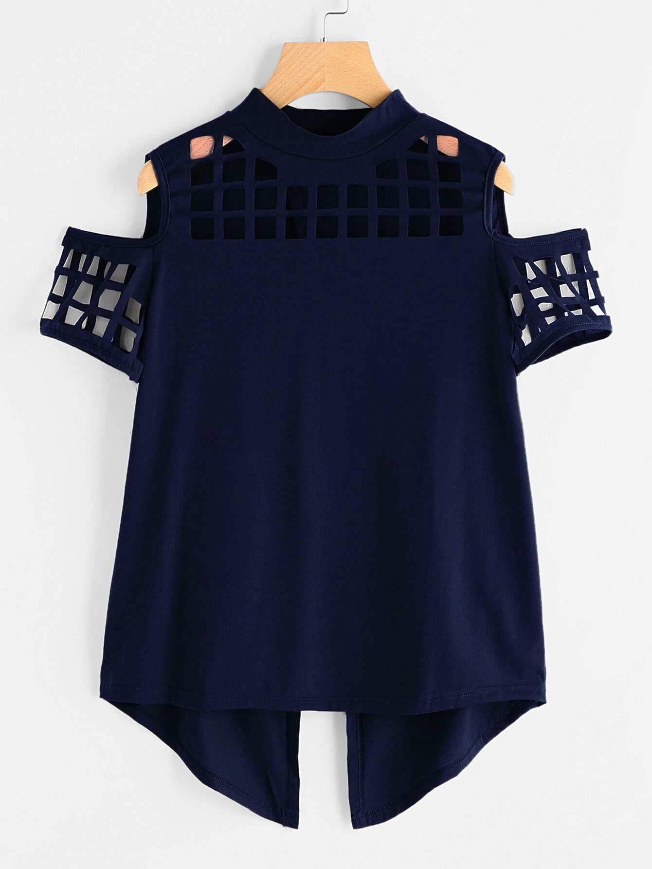 цены Open Shoulder Laser Cut Out Overlap Back Tee