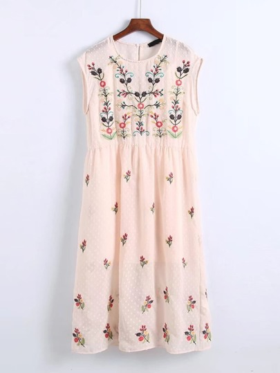 Flower Embroidery 2 In 1 Dress
