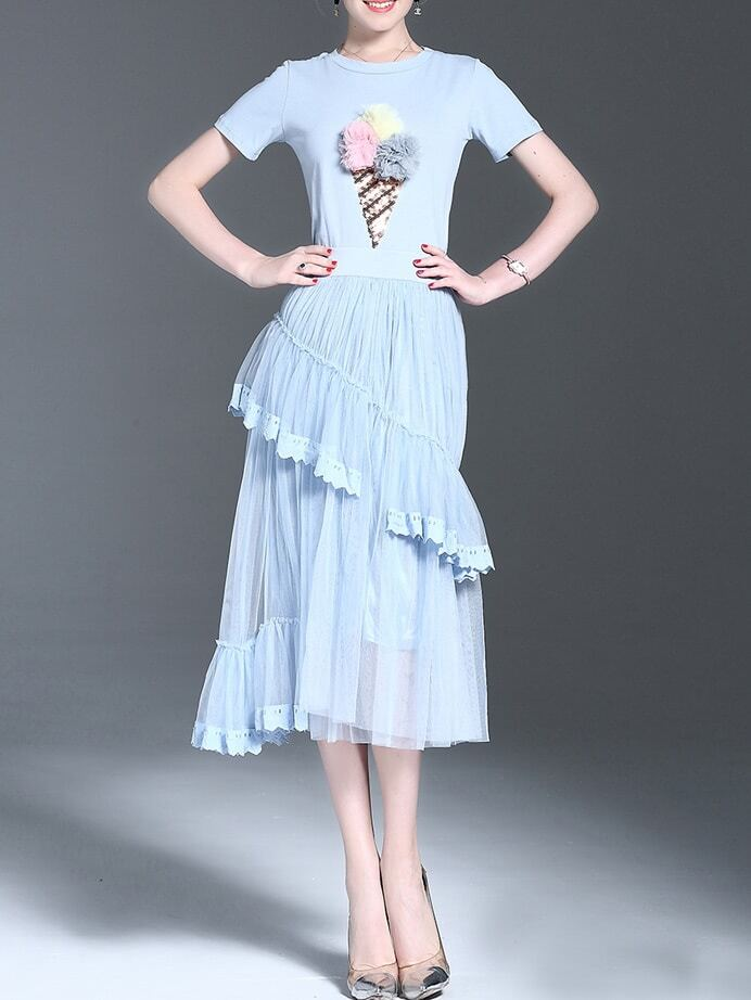 Knit Ice Cream Applique Top With Pleated Skirt
