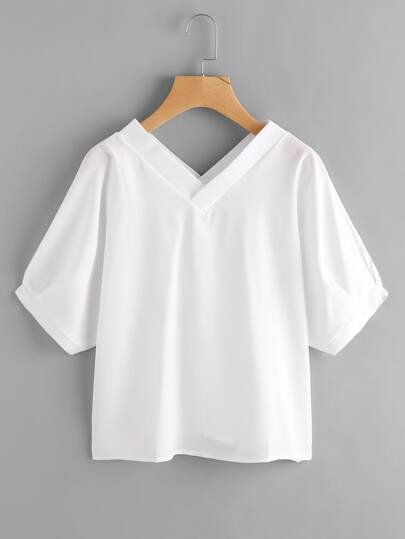 Double V Neckline Cross Blouse