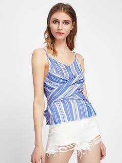 Cross Wrap Striped Cami Top