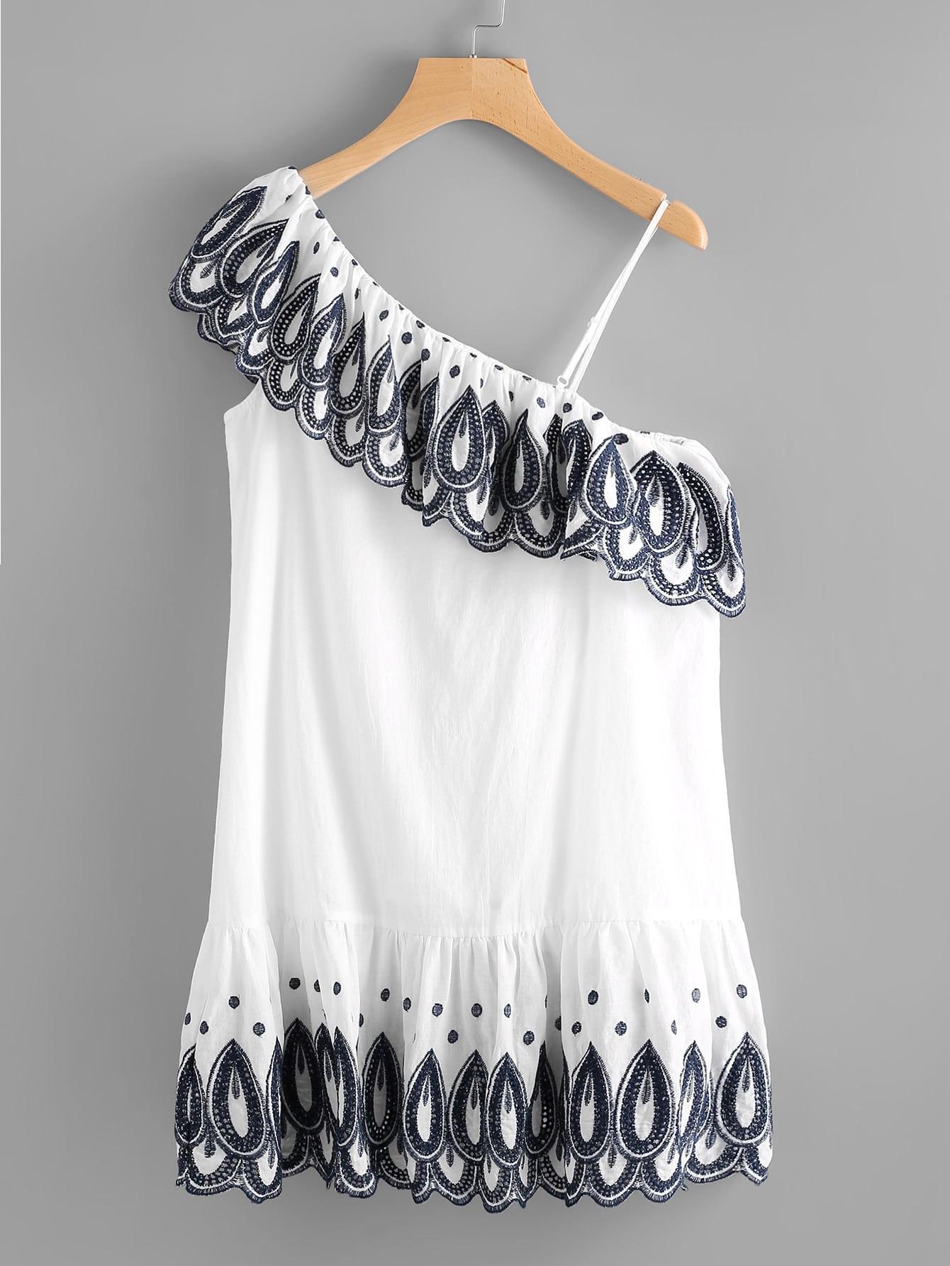 Фото One Shoulder Eyelet Embroidered Flounce Dress. Купить с доставкой
