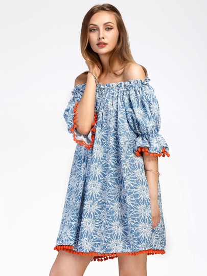 Bardot Floral Print Pom Pom Trim Dress
