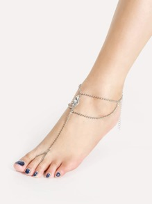 Water Drop Rhinestone Chain Anklet With Toe Ring