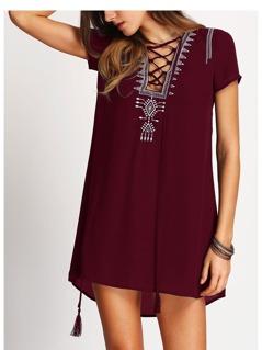 Lace Up Print Front Shift Dress