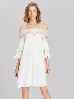 Lace Bardot Neck Layered Lettuce Edge Sleeve Dress