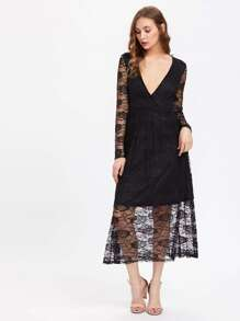 Plunging V-Neckline Lace Dress