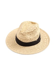 Contrast Band Braided Beach Hat