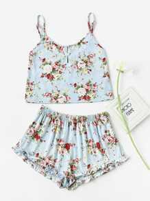 Pearl Button Front Cami & Ruffle Shorts Pajama Set