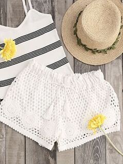 Tasseled Drawstring Waist Eyelet Crochet Shorts