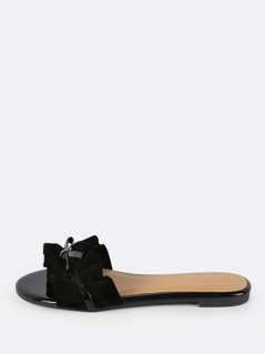 Frilly Slip On Sandals BLACK