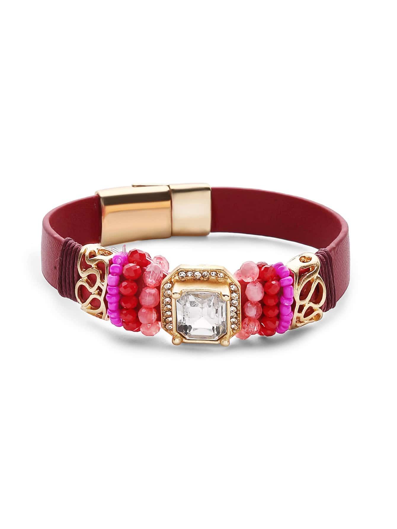 Фото Rhinestone And Beads Embellished Bracelet. Купить с доставкой