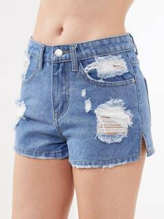Vented Side Distressed Denim Shorts