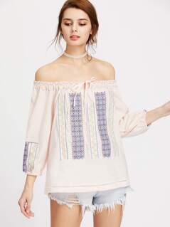Boat Neckline Embroidery Tie Detail Blouse