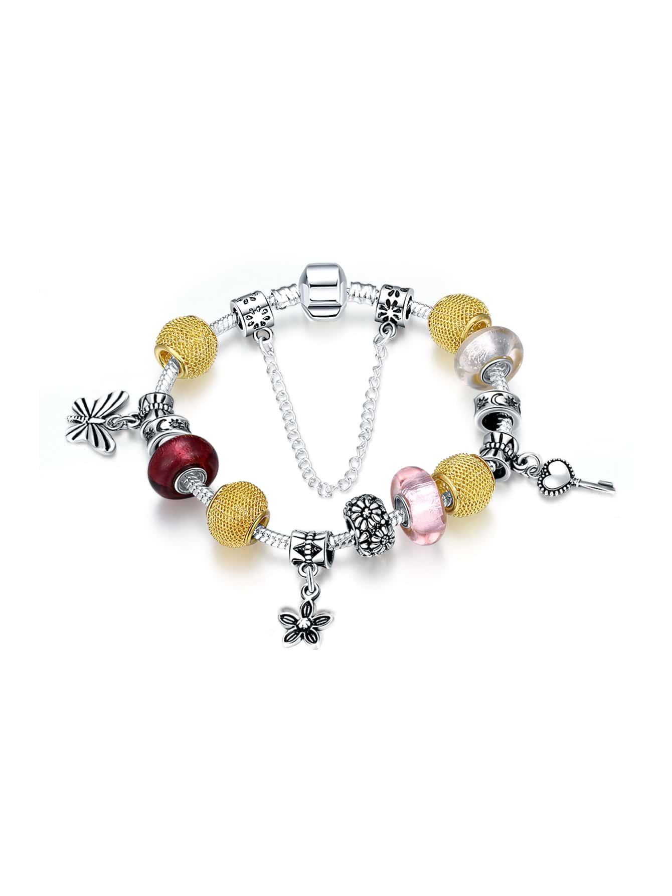 Фото Butterfly And Flower Detail Bracelet. Купить с доставкой