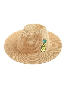 Pineapple Embroidery Straw Beach Hat
