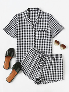 Piping Detail Gingham Blouse And Shorts Pajama Set