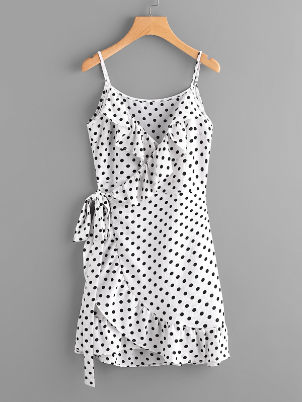 Polka Dot Wrap Self Tie Waist Frill Cami Dress by Sheinside