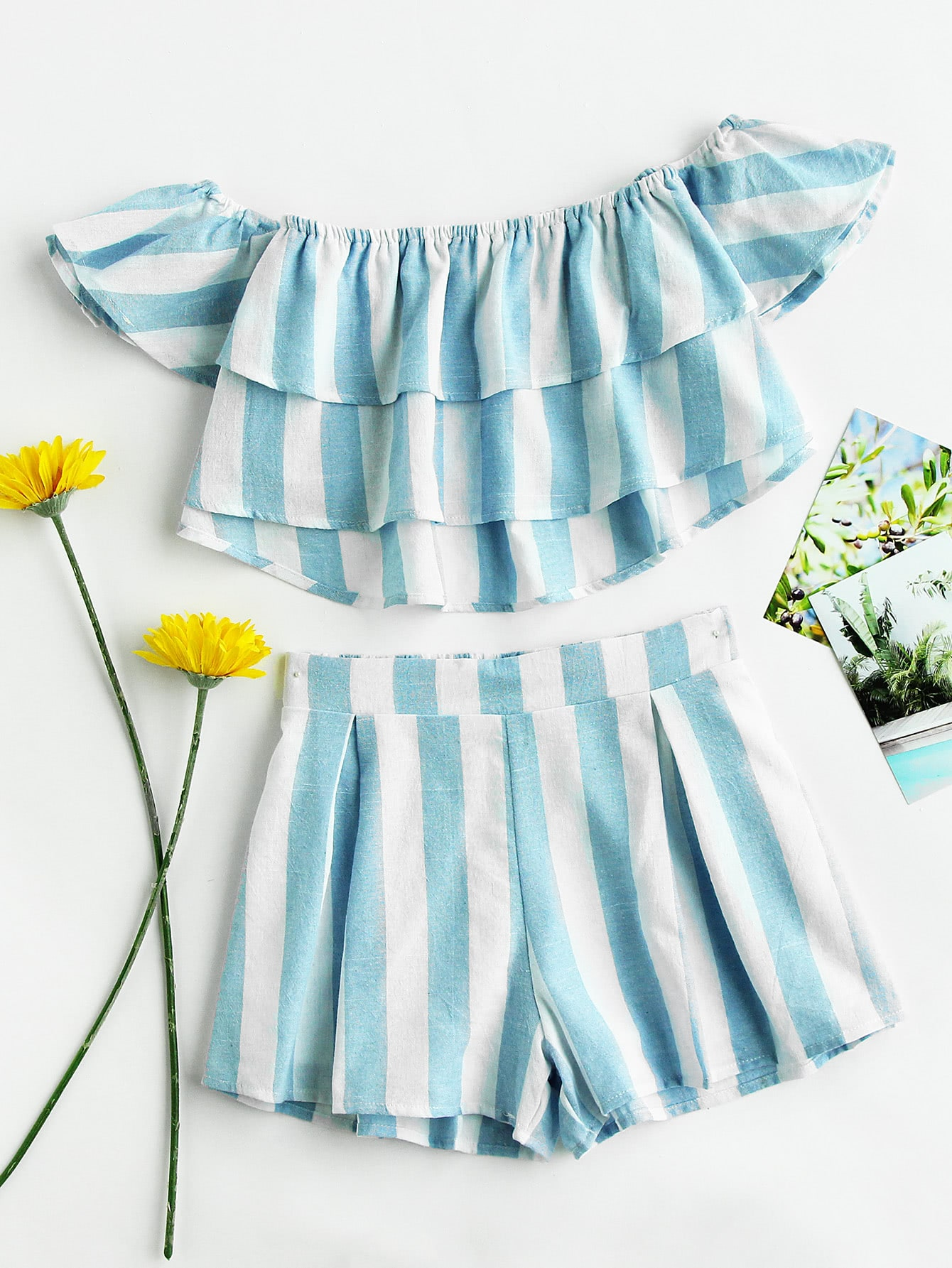 Bardot Striped Tiered Crop Top And Shorts Set