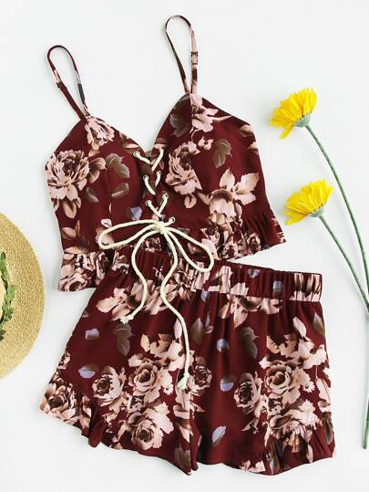 Lace Up Smocked Back Bustier Cami And Shorts Set