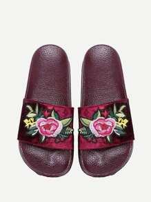 Sandales imprimé fleuri en velours avec des pièces