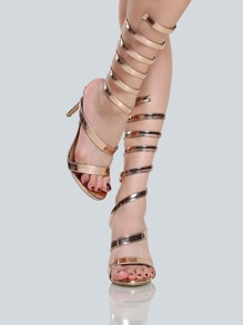 Metallic Patent Coil Heels ROSE GOLD