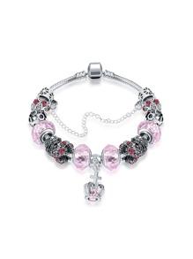 Bracelet chaîne avec détail de couronne avec cristal