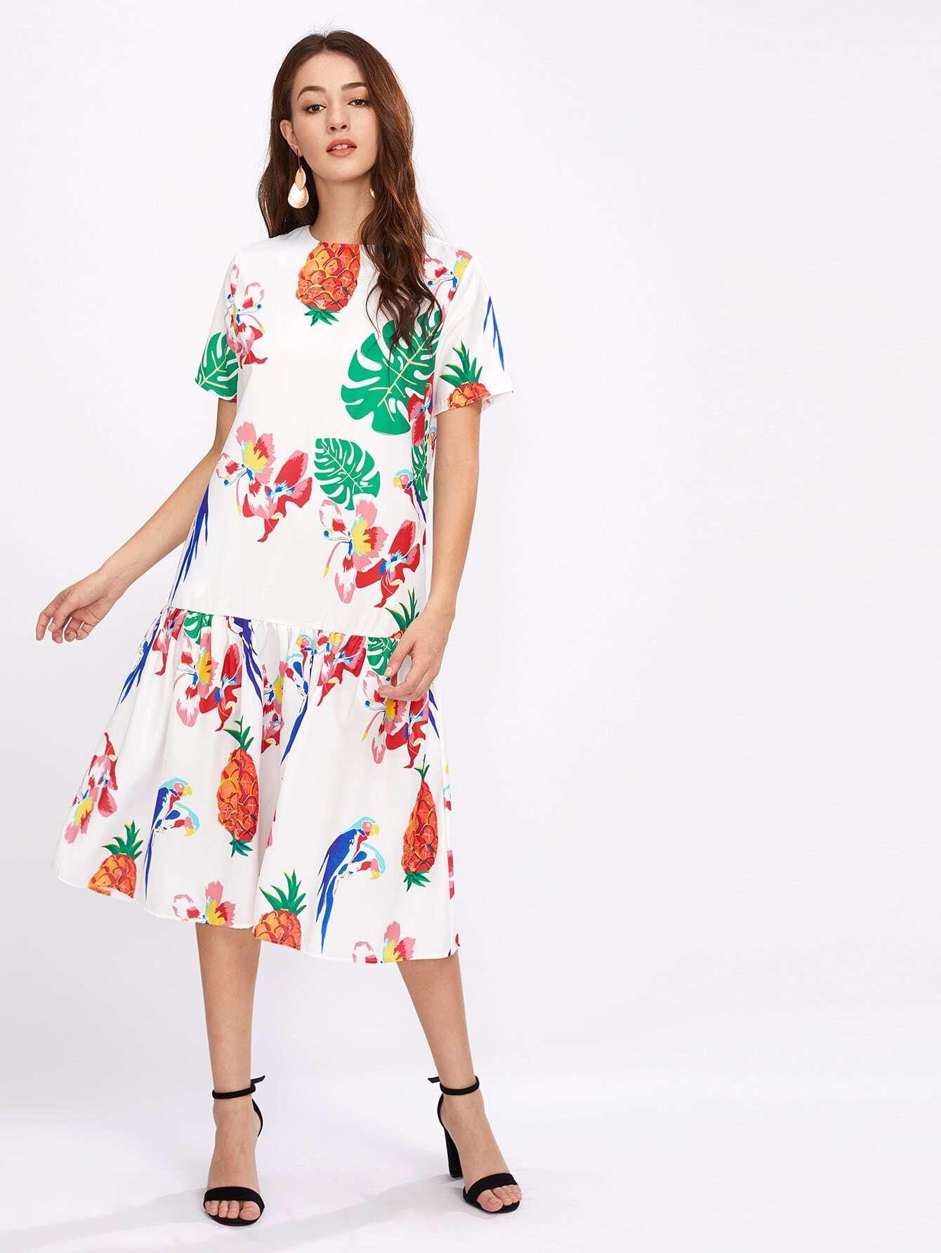 Фото Random Jungle Print Frill Hem Dress. Купить с доставкой