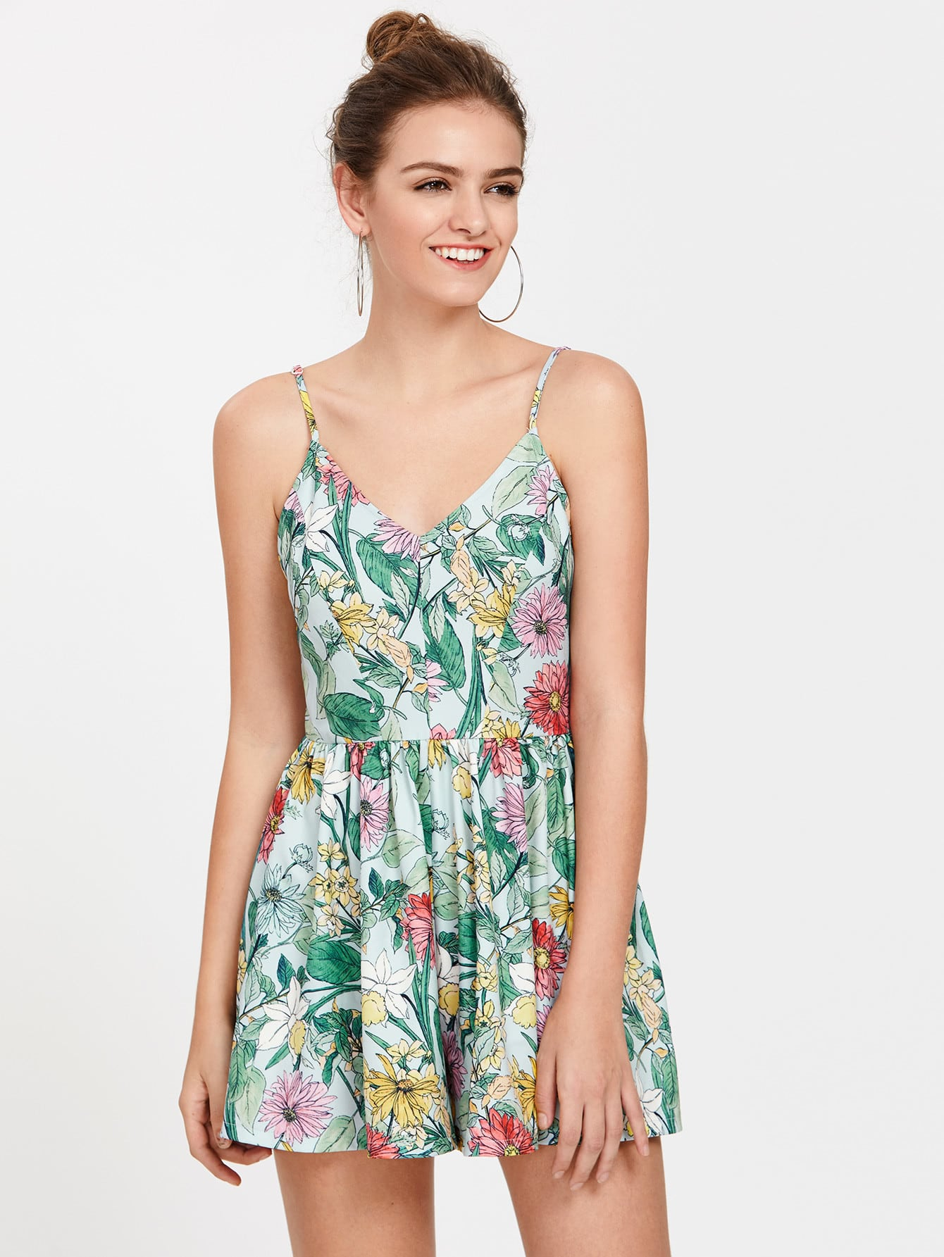 Фото Crisscross Back Tropical Cami Romper. Купить с доставкой