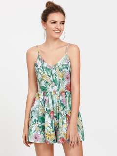 Crisscross Back Tropical Cami Romper