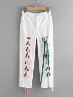 Grommet Lace Up Front Crop Skinny Pants