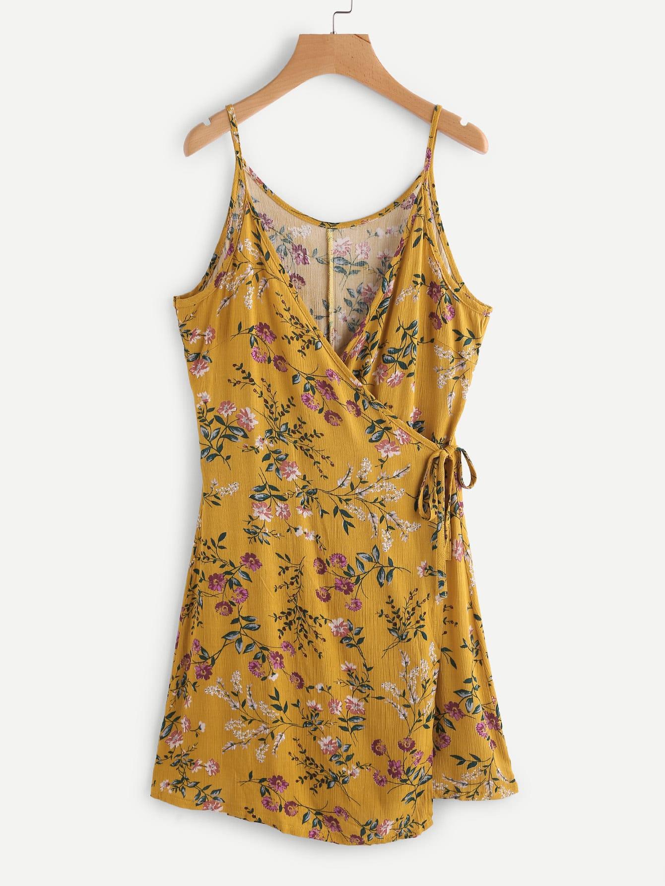 Floral Print Random Wrap Self Tie Cami Dress