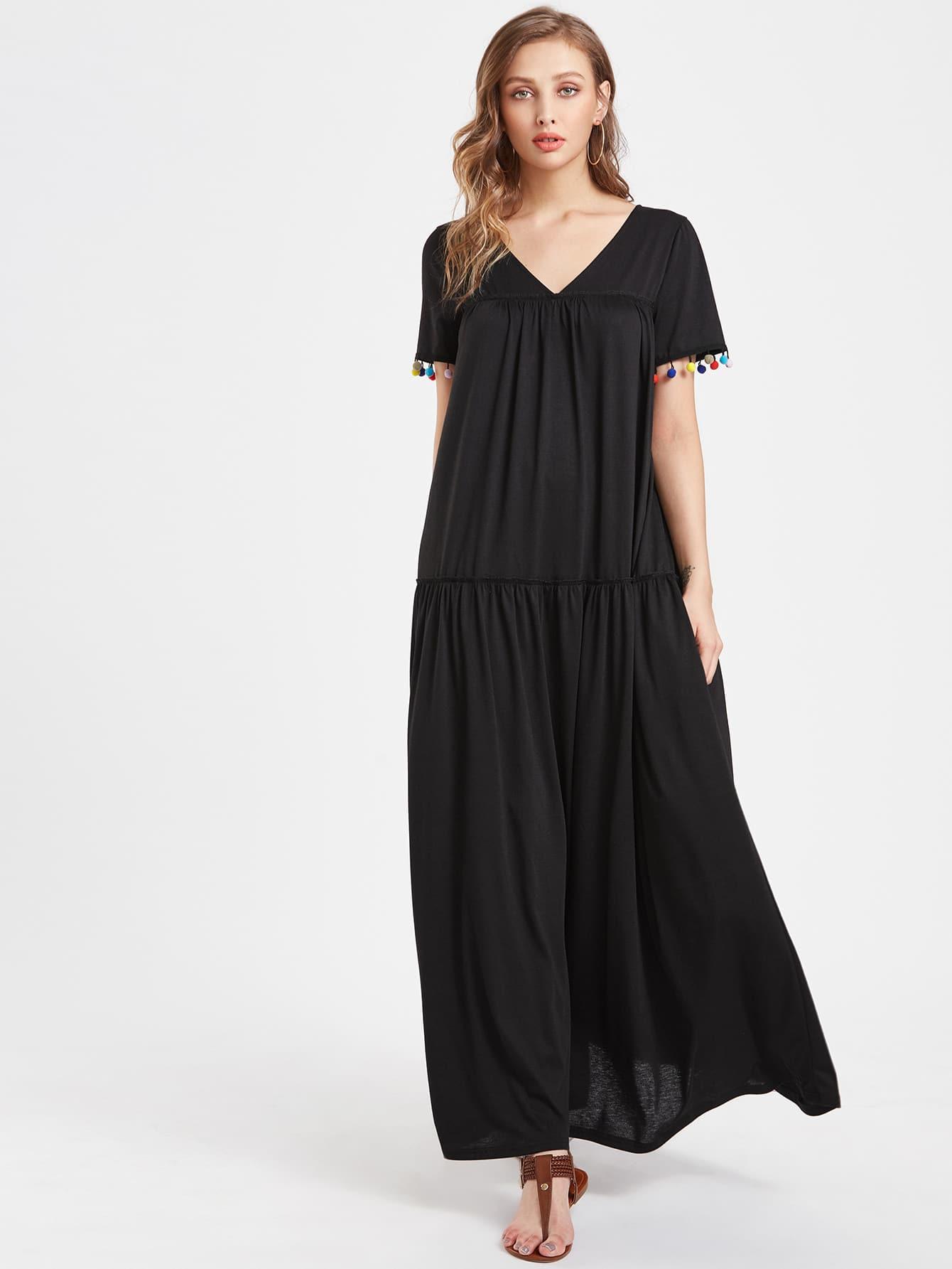 Фото V Neckline Pom Pom Full Length Dress. Купить с доставкой