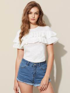 Layered Frill Detail Slub Tee