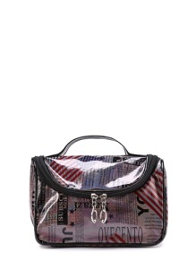 Mixed Pattern Double Zipper Makeup Bag