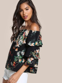 Floral Print Off Shoulder Ruffle Sleeve Top BLACK