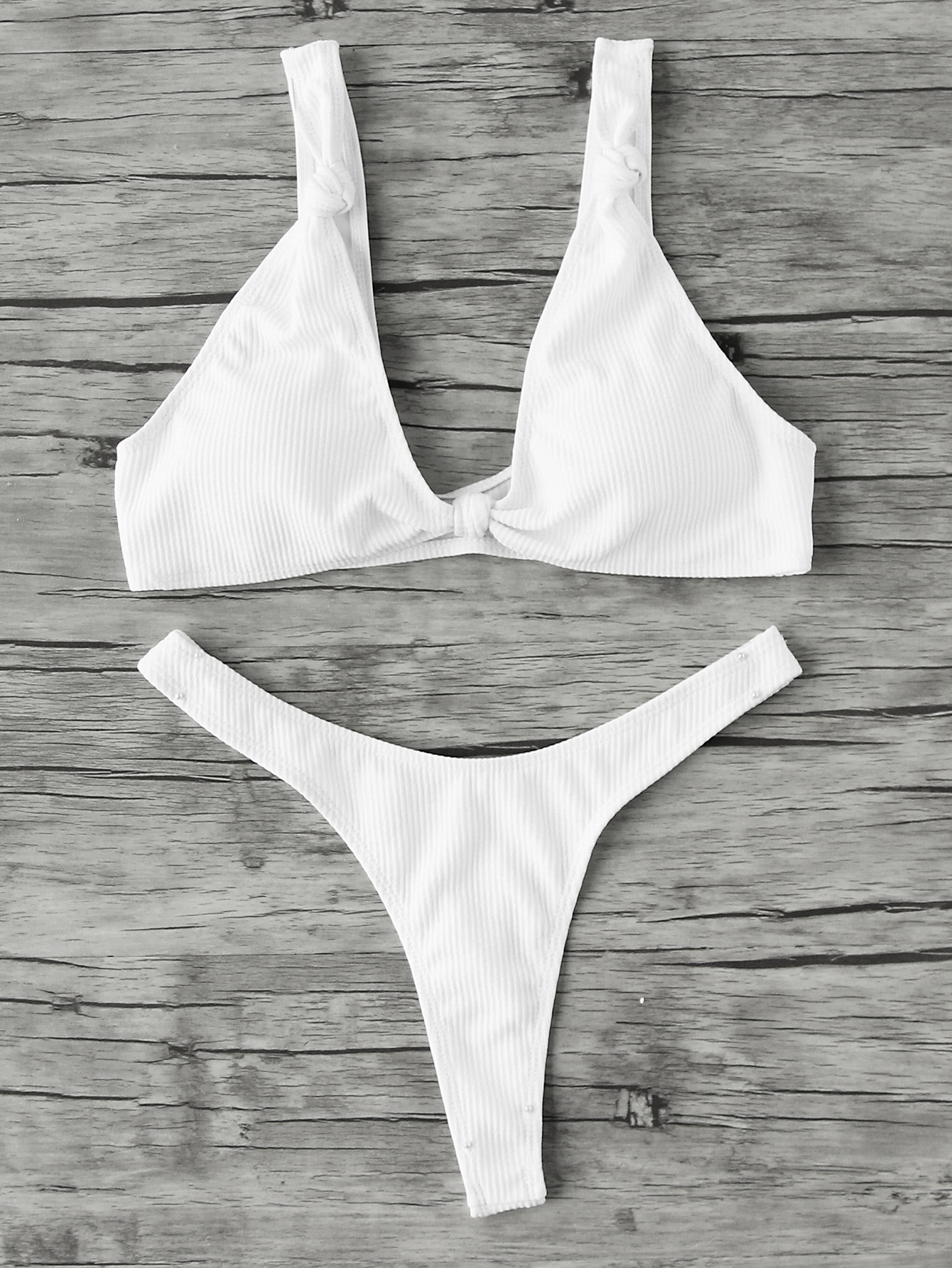Фото High Leg Plunge Neckline Ribbed Bikini Set. Купить с доставкой