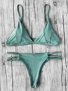 Plunge Top With Braided Bikini Set