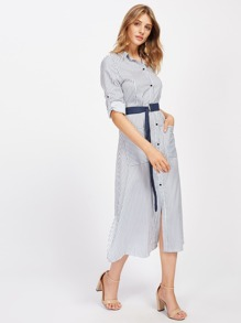 Vertical Striped Tie Waist Shirt Dress With Ring Detail